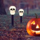 Halloween-i Led-es napelemes lámpa (koponya)