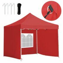 Kerti pavilon, összecsukható 3 fallal (3x3 m, piros)