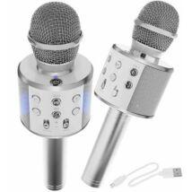 Vezeték nélküli karaoke mikrofon Bluetooth hangszóróval (ezüst)