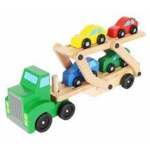 Autószállító kamion fa játék