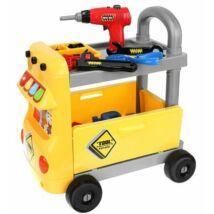 Gyerek szerszámoskocsi szerszámokkal és elektromos csavarozóval
