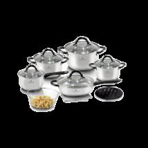 Blaumann Gourmet Line 12 részes rozsdamentes acél edénykészlet, szatén, fekete színű fogókkal