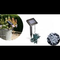 100 LED-es napelemes kerti fényfüzér, hidegfehér