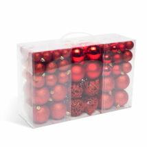100 darabos karácsonyi függődísz gömbök (piros)