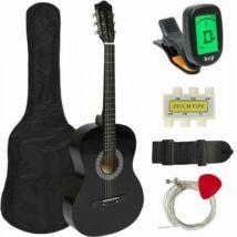 Akusztikus gitár szett kezdőknek, ajándék hangolóval (fekete)