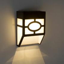 Falra szerelhető szolár lámpa (műanyag, fekete, 12 x 8 x 5 cm)