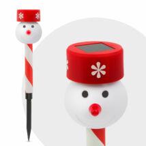 Led-es szolár lámpa (hóember, piros kalap)
