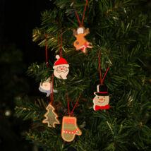 Karácsonyfadísz szett fából (4 cm, darabos csomag)