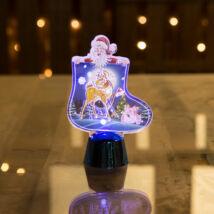 Karácsonyi asztali LED dekor fényes talppal csizma kék (12 cm)