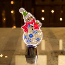 Karácsonyi asztali LED dekor fényes talppal hóember (14 cm)