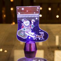 Karácsonyi asztali LED dekor fényes talppal csizma lila (15 cm)