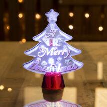 Karácsonyi asztali LED dekor fényes talppal karácsonyfa (15 cm)
