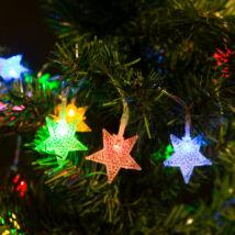 Fényfüzér LED csillag (színes, elemes, 2 méter)