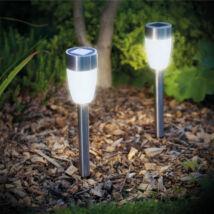 LED-es szolár lámpa (leszúrható, hidegfehér, fém, 370 mm)