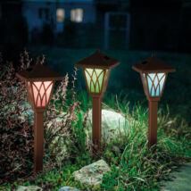 LED-es szolár lámpa (RGB, barna, műanyag)