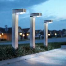 LED-es szolár lámpa (hidegfehér, szálcsiszolt, fém)