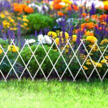 Virágágyás szegély / kerítés (kihúzható, 150 x 50 cm, fehér)