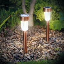 Led-es kültéri szolár lámpa (185 x 55 mm, fém, rozéarany)