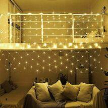 128 LED-es hálós fényfüzér (melegfehér)