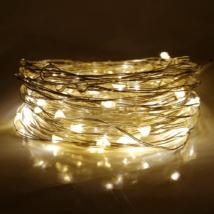 10 méteres Micro LED-es elemes fényfűzér (Meleg fehér)