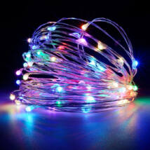 10 méteres Micro LED-es elemes fényfűzér (Színes)