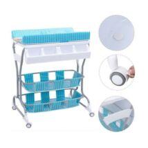 2 az 1-ben baba fürdető és pelenkázó állvány tárolókkal (kék - csíkos, macis)