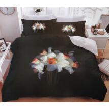 7 részes Sendia ágyneműhuzat garnitúra 3D virágos mintával (fekete, sárga virággal)