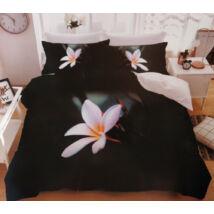 7 részes Sendia ágyneműhuzat garnitúra 3D virágos mintával (fekete, fehér/rózsaszín virággal)
