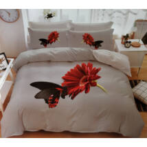 7 részes Sendia ágyneműhuzat garnitúra 3D virágos mintával (piros virággal)