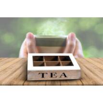 Vintage hatású 6 részes fa teafilter tartó doboz (szürke)