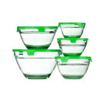 5 részes üvegtál szett (Zöld színben)