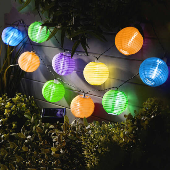 Napelemes lampion fényfüzér (10 db színes lampion, hidegfehér LED, 3,7 m)