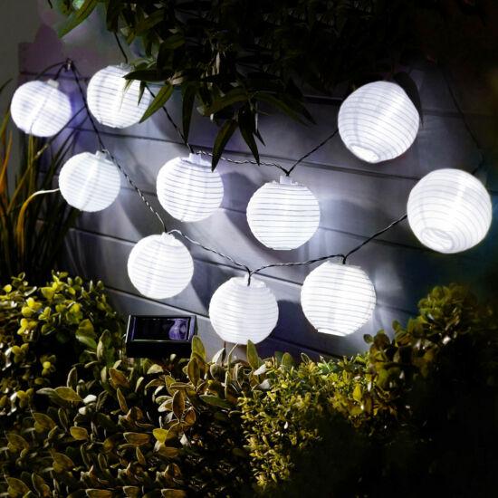 Napelemes lampion fényfüzér (10 db fehér lampion, hidegfehér LED,  3,7 m)