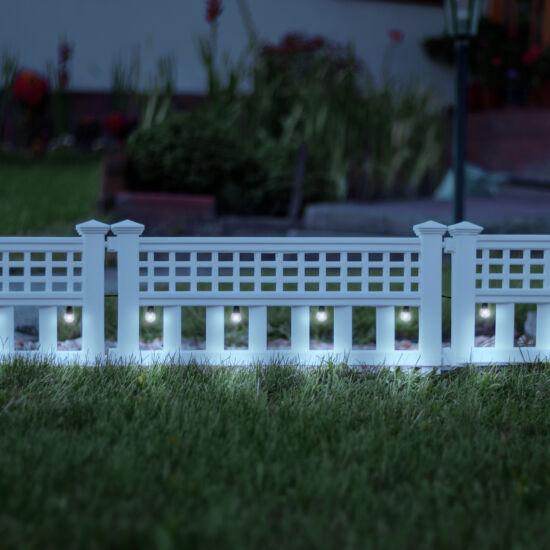 LED-es napelemes kerítés (hidegfehér,  4 darabos csomag)