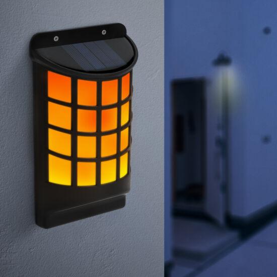 LED-es napelemes fali lámpa (lángeffekttel, fekete, rácsos)