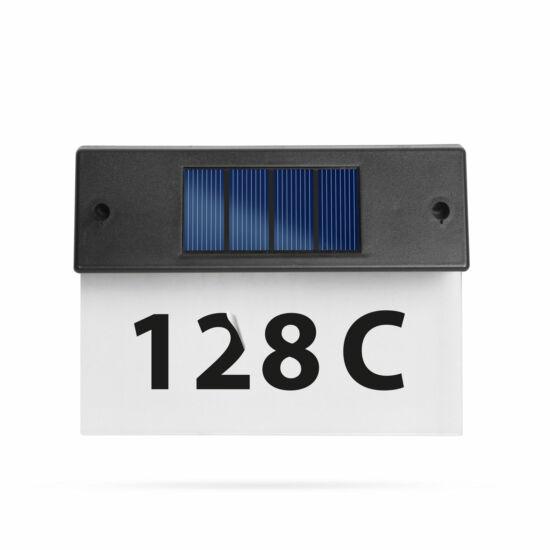 Napelemes házszámfény (átlátszó plexi, hidegfehér LED, 18 x 20 cm)