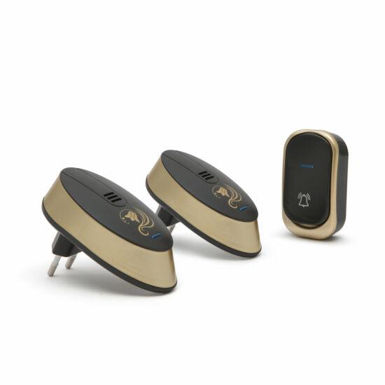 Vezeték nélküli csengő, elemes kültéri, dupla beltéri vevőegységgel (design-os, fekete)
