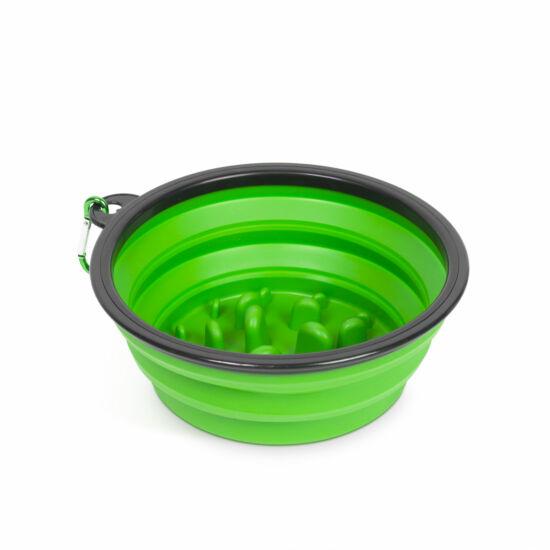 Összenyomható etetőtál (habzsolásgátlóval, zöld, 1000 ml)