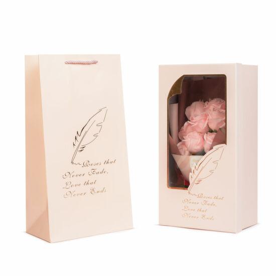 Rózsabox (11 db rózsaszín rózsával)