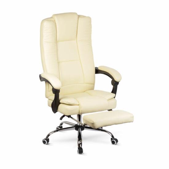 Irodai szék lábtartóval, karfával (vajszínű)