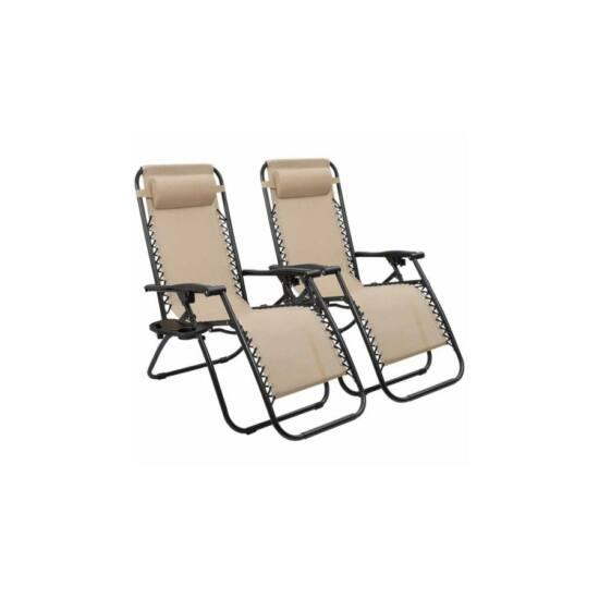 Zéró gravitáció kerti szék (ajándék pohártartóval, 2 db, bézs)