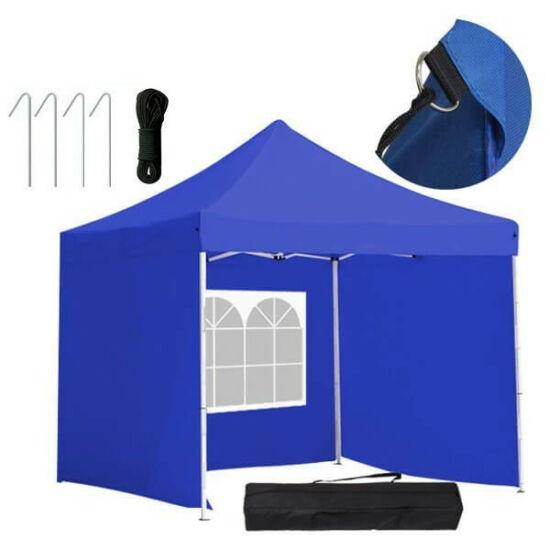 Összecsukható kerti pavilon, 3 fallal és hordtáskával (2,9 x 2,9 m, kék)