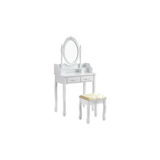 Tükrös fésülködő asztal székkel (Rome, fehér)