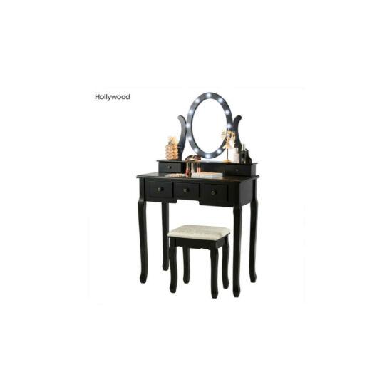 Tükrös fésülködő asztal székkel (Hollywood, fekete)