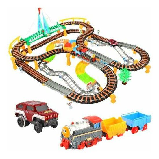 Vasúti versenypálya 2 az 1 -ben XXL - 192 elem