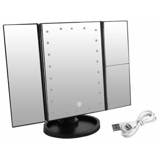 22LED-es kozmetikai nagy tükör - 2x 3x nagyítással