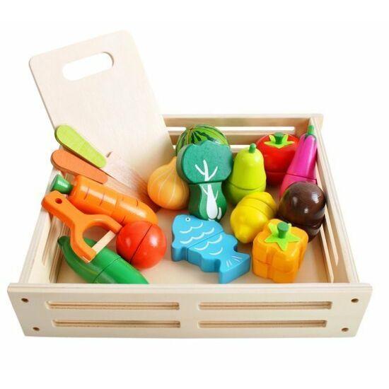 Fából készült zöldség -gyümölcs aprító mágneses játék