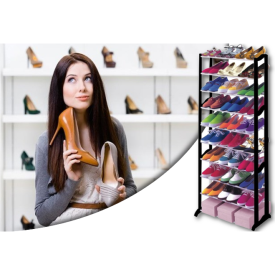 30 férőhelyes cipőtartó állvány (fekete)