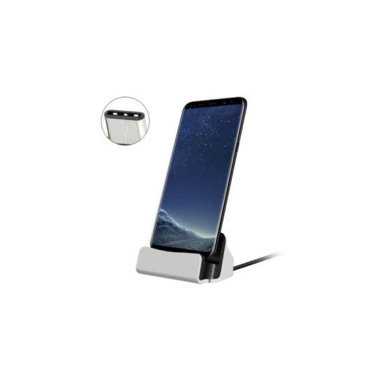 Univerzális USB C asztali töltő (ezüst)
