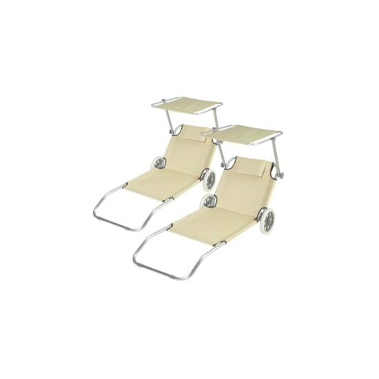 2 db mobil napozó ágy, árnyékolóval (bézs)